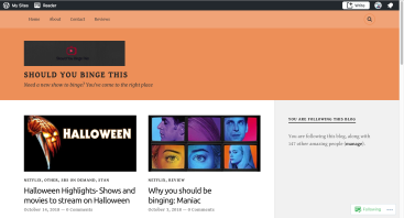The current blog layout of Should You Binge This.